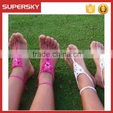 V-991Newest fashion flower cute white baby sandals foot Jewelry handmade bracelet anklet chain