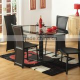 Awesome Oval Dining Table Set Glass Top Cool Black Chairs