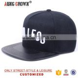 Cheap Leather Brim White Embroidery Snap Back Cap Wholesale