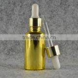 30ml electroplated dropper bottles gold color with gold cap for essential oil/cosmetic packaging