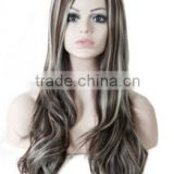 "26"" Synthetic Ombre Grey Wig Long Curly Wig African American Wig For Black Women Heat Resistant Hair Cheap Cosplay Wig"