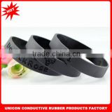 New arrival funny & freak black silicone charm bracelet with debossed logo