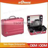 2016 Sunrise portable professional empty aluminum mould makeup train briefcase with lights mirror