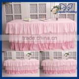 SK006D For sale Wedding three tiered taffeta banquet ruffled pleated steps in pink table skirt