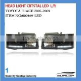 toyota headlights 000469-1hiace led head light crystal headlamp for hiace 2005 KDH 200 headlights