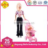 ICTI FACTORY walmart supplier 20958 play doll set with 11.5'' mother doll and 4'' baby doll in the pram for wholesale