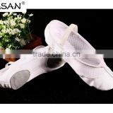 New Product Breathable Design Semi Canvas Mesh Soft Ballet Shoe Split Sole Elastic Lace BS309
