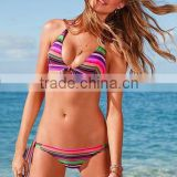 Pink stripe lovely bikini micro mini