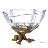 Ornamental Crystal Compote With Wave Edge, Unique Crystal Fruit Bowl Inlaid Bronze Casting Conch & Flower Vine Edge