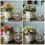 White Tricycle Bike Design Flower Basket Storage Container DIY Party Weddding casamento Decoration Supplies