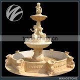 Outdoor Three Tiers Modern Stone Angel Water Fountain