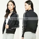 Wholesale Track Jackets Mock Neck Long Sleeve Contrast Stripe Ribbed Trim Running Sports Varsity Jacket Black Varsity Jacket