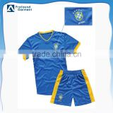 Custom embroidered sports wear Brazil football shirt soccer jersey set uniform