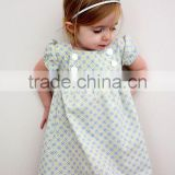 Custom Baby Clothes High Grade Girls Party Dresses With Cotton short Puff Sleeve Brief Dress