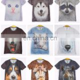 Mens Summer Clothing 3D Animal Print Round Top T-Shirt Graphic Casual Tee Blouse