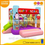 2016 AOQI newest design happy animal inflatable bouncer inflatable kids jumping bouncer with slide with free EN14960 certificate