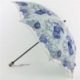 Fashion Double Folding Sun Umbrella with Hand Embroidery