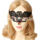 High Quality Red Gemstone Swan Design Black Lace Party Mask Wholesale