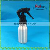 50ml natural silver aluminum bottle with 24/410 black trigger sprayer,empty aluminum trigger bottle