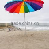Heavy Duty Rainbow Beach Umbrella Design with silver UV coating Sand Anchor and Carry Bag