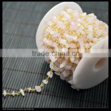 LFD-001C ~ Wholesale Gold Plated Wire Wrapped Freeform Rose Quartz Chips Chain Gem Stone Beaded Chain Jewelry Findings