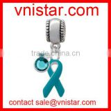 Vnistar metal alloy european style blue ribbon charm beads fit european snake chain bracelet TB070