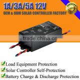 1A/3A/5A 12V solar battery voltage charge regulator controller waterproof for lead-acid/lithium/lifepo4
