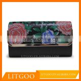 Litgoo new style foldover flat clutch in textured glitter fabric with rose crystal metal-mesh