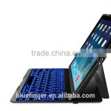 Backlit keys Leather case for iPad Air with 7 LED backlit color,Bluetooth backlit keyboard for iPad Air