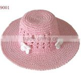 flower trim fruit kid straw hand weave hat