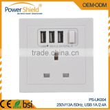 Type G Euro/UK Electrical Wall Mount Switch Socket with 3 USB outlet Ports 230V 13A BSi Standard
