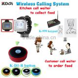 Wireless Guest Pager System For Kitchen Waiter Watch Pagers Quick Bell Call Button With 433.92MHZ