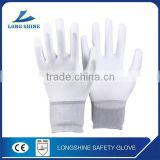 Heavy Duty Anti-dust Pu Half Coated Dipped Polyester White Working Gloves with Low Price