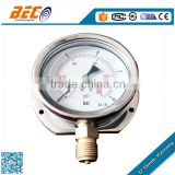 (YTN-100AD) 100mm large size stainless steel material waterproof oil filling bottom mounting with flange mbar pressure gauge