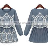 2015 fashion high quality New Arrival hot sale new ladies denim hollow out dress crochet lace pattern denim dress