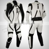Motorbike Black & White Leather Suit Motorcycle Clothing Leather Racing Suit