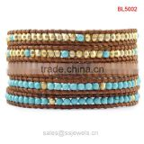 Alibaba Wholesale Turquoise Leather Bracelets Hot New Products Delicate Golden Copper Beads Jewelry