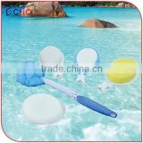 Bath Long Foldable Handle with Loofah Pumice Sponge Lotion Changeable heads for Back Scrubber