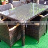 outdoor furniture dining set includes six chairs and dining table with 5mm clean glass table top for home and hotel use