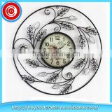 Classic hand craft flower pattern fancy durable metal decorative wall clock