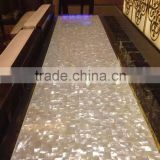 Polished white mother of pearl shell mosaic tile for table top