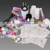12 Colors Acrylic Color Powder With Nail Tips / Brush / Glitter Manicure Full Set HN1090