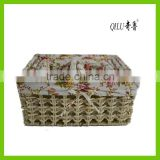 Straw storage basket, made of maize/fabric lining, for household, various colors/sizes available