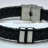 Fashion Black Leather Linked Silver Loop Bracelets Jewelries Braided Wrap Wristband Bangles For Men