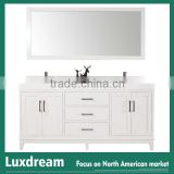 60'' bathroom vanity cabinet with white carrara marble top