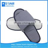 Dark blue plaid summer slippers for women