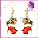 Europe &American style fashion christmas gift boot enamel fishhook earring factory price