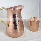 Handmade Pure Copper Luxury Jug Pitcher storage drinking Water , Copper Pitcher With Small Glass & Copper Shot Glass Set of 2