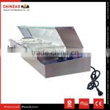 5 Tray Bain Marie With Glass Cover/Electric Sauce Soup Food Warmer Glass Top/Hot Food Bar