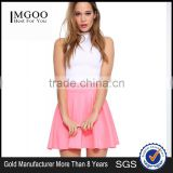 MGOO Stock Wholesale Price Women Pink Summer Pleated Skirts For Women Plain High Waist Skirts 15144C008